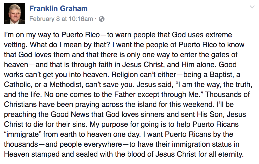 """Evangelist Franklin Graham: God Uses """"Extreme Vetting"""" To Decide Who Gets Into Heaven"""