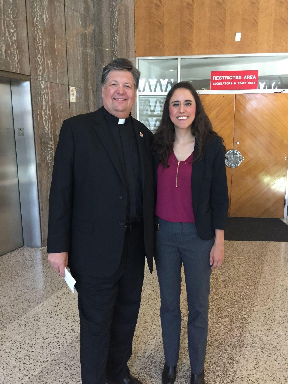 Rev David Felten and Rep Athena Salman following Felton's nontheistic prayer in the AZ House.