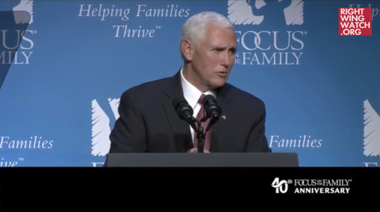 """Pence Calls Trump """"Unwavering Ally"""" of Anti-LGBT Group Focus on the Family"""