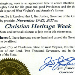 """Does West Virginia's """"Christian Heritage Week"""" Violate Church/State Separation?"""