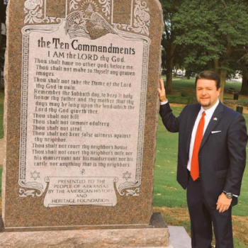 "Christians ""Anointed"" (and Maybe Damaged) the Arkansas Ten Commandments Monument"