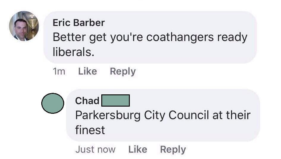"The councilman wrote, ""Better get you're coathangers ready liberals."""