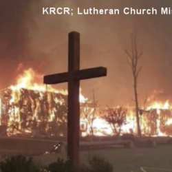 """Christians """"Inspired"""" by Cross, Surrounded by Concrete, That Was Spared in Fire"""