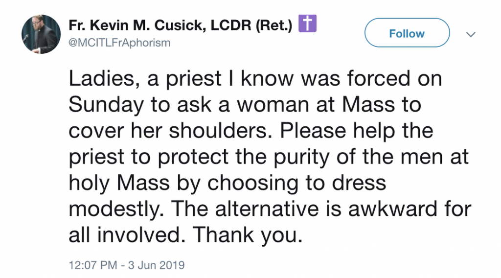 Catholic Priest: Women Must Cover Their Shoulders at Mass to