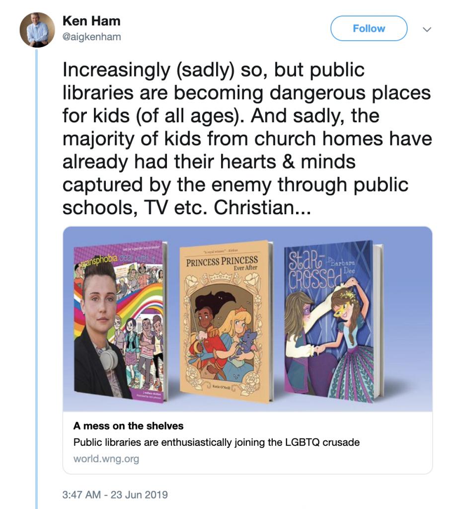 "Creationist Ken Ham: Libraries Are ""Dangerous Places for Kids"