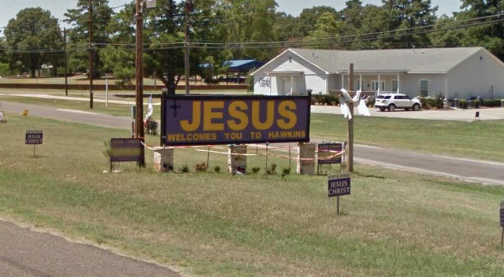 """At Long Last, the """"JESUS Welcomes You to Hawkins"""" Sign in"""