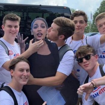 "The ""Team Mitch"" Boys Choking a Cutout ofAOC Attend a Christian School"