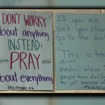 """Teacher Under Fire for Rebutting Poster Urging Kids to """"Pray About Everything"""""""