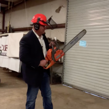 Louisiana Lawmaker Takes Chainsaw to Mask, Compares Mask Mandates to Holocaust