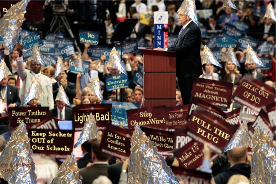 Electricists at the Republican Convention in tinfoil hats with anti-electricity signs