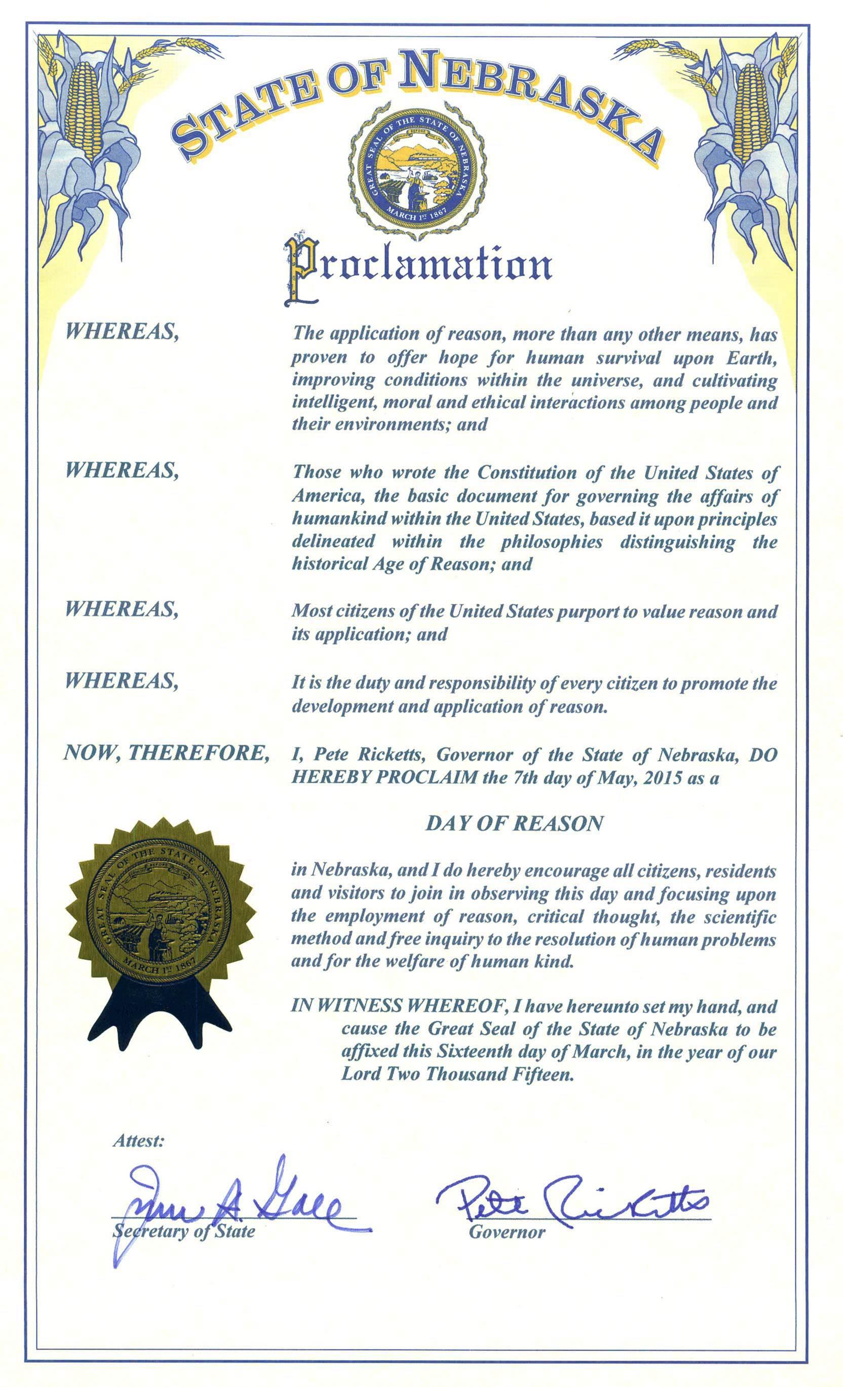 "Nebraska Governor Issues ""National Day of Reason"